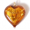 Glass Lamp Pendant Heart 13mm Topaz/Silver Foil with loop